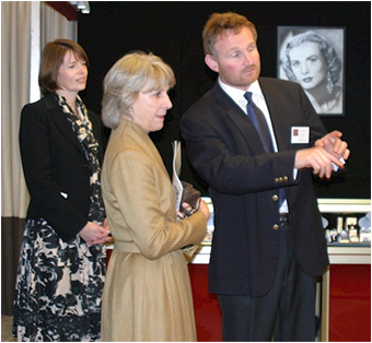HRH The Duchess of Gloucester with Fair Organiser, Ingrid Nilson and Simon Powell of Freshfords Fine Antiques