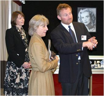 HRH The Duchess of Gloucester with Fair Organiser, Ingrid Nilson and Simon Powell of Freshfords Fine Antiques