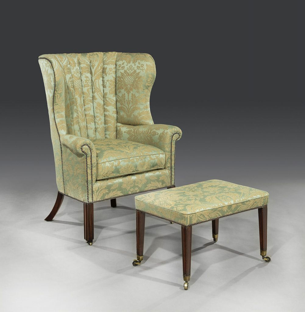 George III 18th Century Period Mahogany Barrel-Back Armchair & Foot Stool