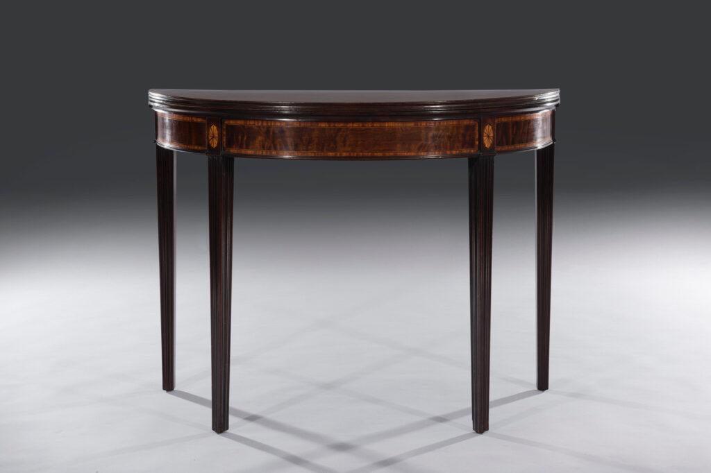 George III Hepplewhite 18th Century Period Plum Pudding Demi-Lune Card Table